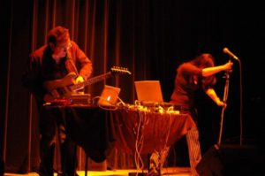 Julian Knowles and Donna Hewitt performing Amphibian at Liquid Architecture, ArtsHouse Melbourne 2006