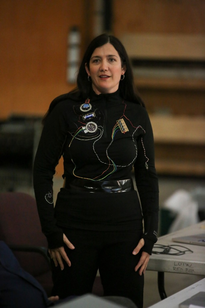 Donna - showing off finished wearable with insulated wire